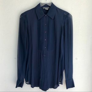 VINCE Button Down Pleated Front, Collared Blouse 2